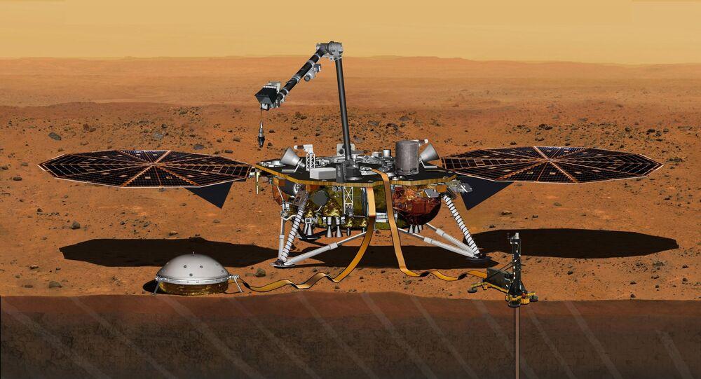 Ilustração da NASA retrata pouso da missão InSight em Marte
