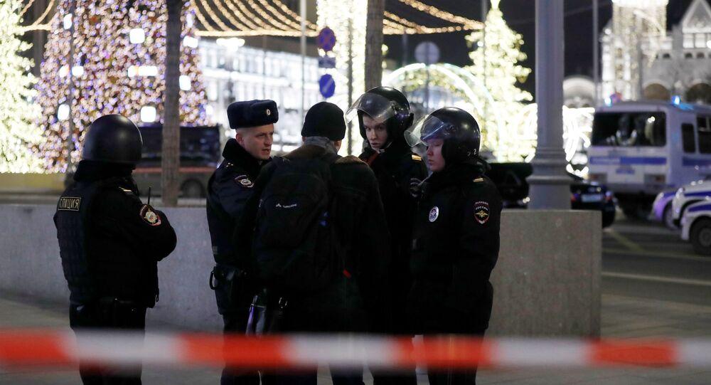 Guardas policiam ruas próximas ao Serviço Federal de Segurança da Rússia (FSB)