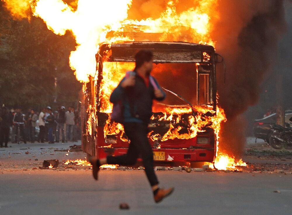 Manifestação contra a nova lei da cidadania. Nova Deli, Índia