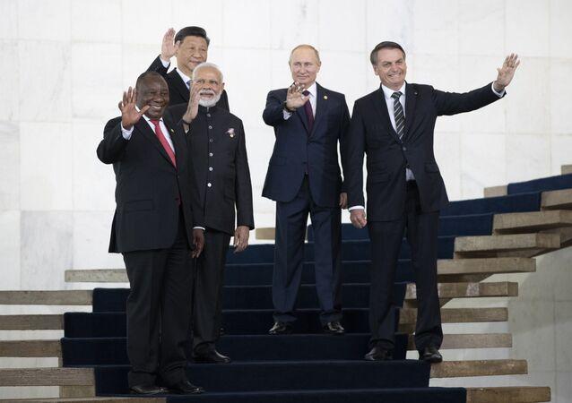 Líderes dos países membros do BRICS na cúpula do bloco em Brasília, 14 de novembro de 2019