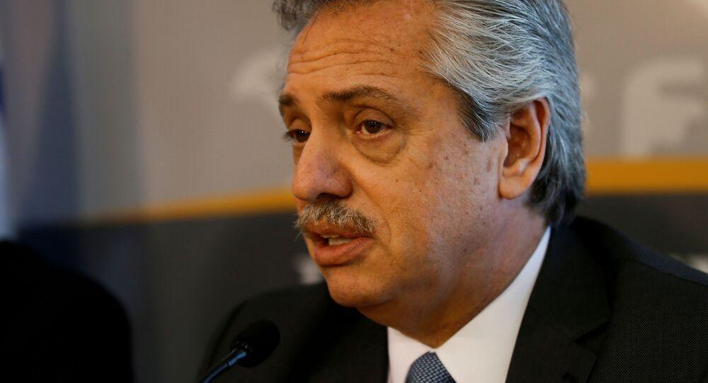 Presidente da Argentina, Alberto Fernández, durante conferência de imprensa (foto de arquivo)
