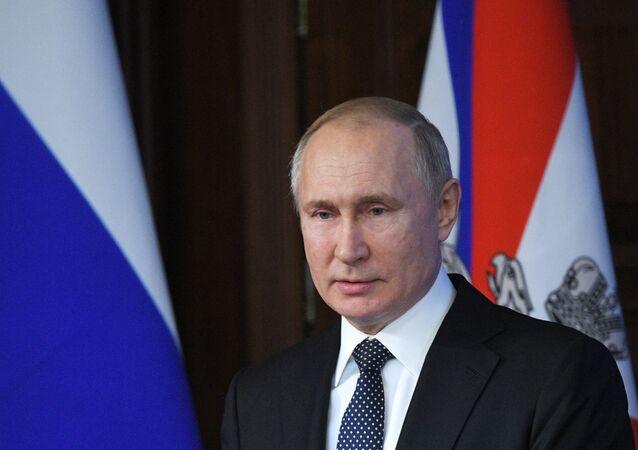 Presidente da Rússia, Vladimir Putin, discursa durante reunião especial do Conselho de Defesa da Rússia, em 24 de dezembro de 2019