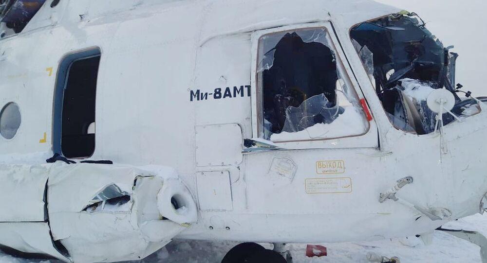 Helicóptero Mi-8 que fez pouso forçado na região de Krasnoyarsk, na Rússia, 25 de dezembro de 2019