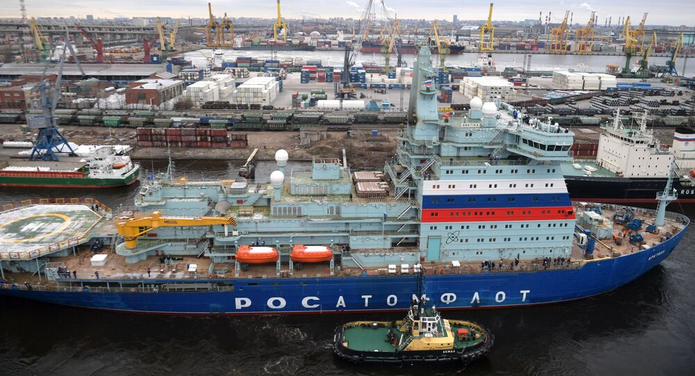 Quebra-gelo atômico russo Arktika em estaleiro (imagem referencial)