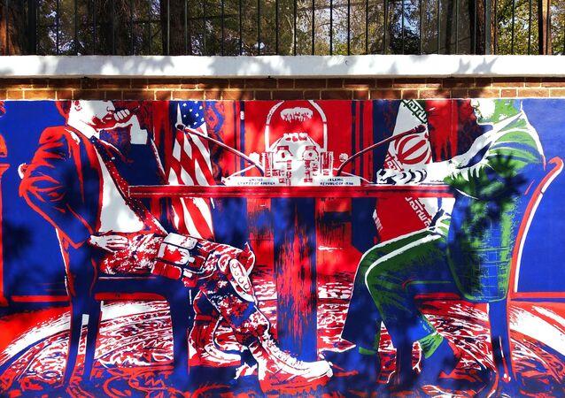 Grafitti na antiga Embaixada dos EUA em Teerã, desenhado em comemoração aos 40 anos de sua tomada, em 02 de novembro de 2019