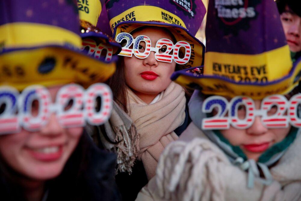 Celebrações do Ano Novo 2020 na Times Square em Nova York