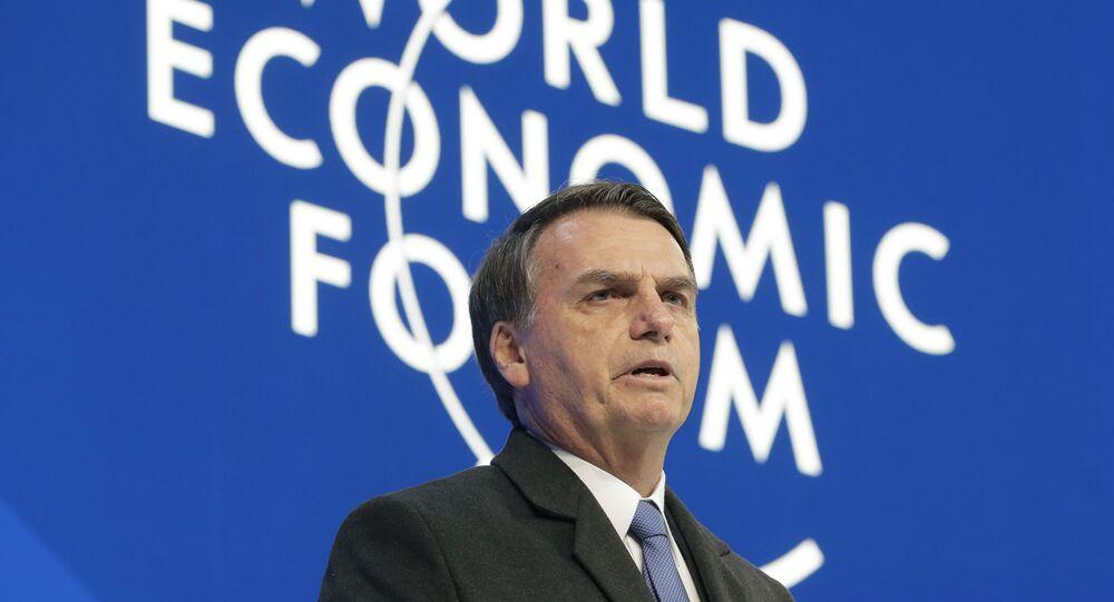 O presidente do Brasil, Jair Bolsonaro, durante o Fórum Econômico Mundial, em Davos, na Suíça..