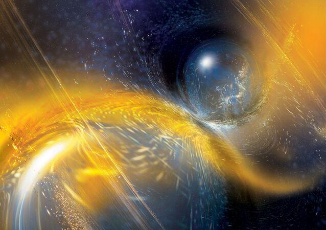 Concepção artística da colisão de duas estrelas de nêutrons