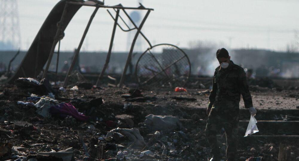 Local da queda do Boeing 737 do voo PS752 Teerã-Kiev nos arredores do Aeroporto Internacional Imã Khomeini na capital iraniana, Teerã