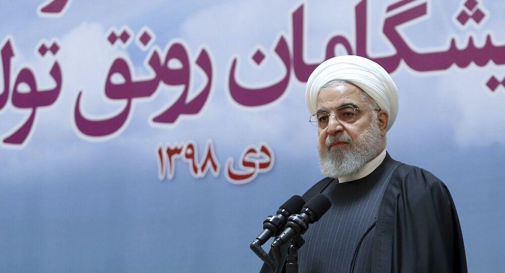 Presidente do Irã, Hassan Rouhani, se pronuncia em reunião sobre acidente aéreo