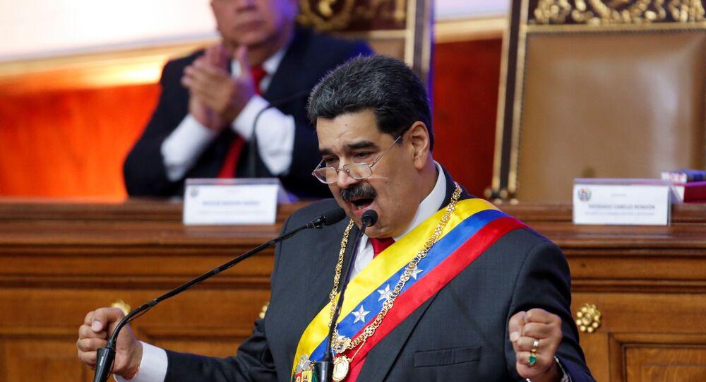 Presidente da Venezuela, Nicolás Maduro, em discurso anual em sessão da Assembleia Constituinte, em Caracas, em 14 de janeiro de 2020