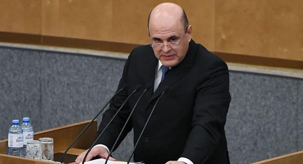 Novo primeiro-ministro da Rússia, Mikhail Mishustin, em discurso ao parlamento, em 16 de janeiro de 2020