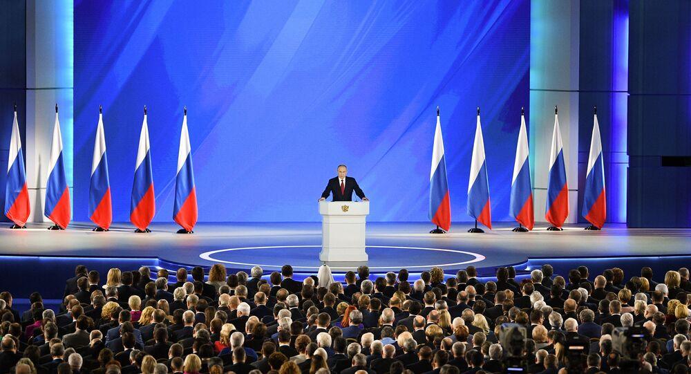 Presidente russo Vladimir Putin discursa na Assembleia Federal da Rússia, em Moscou