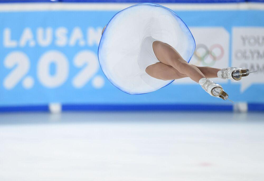 Patinadora durante Jogos Olímpicos da Juventude de Inverno 2020