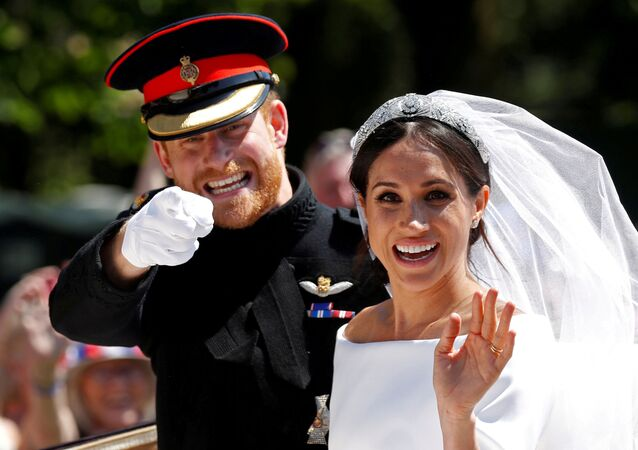 Príncipe Harry durante o casamento com Meghan Markle.