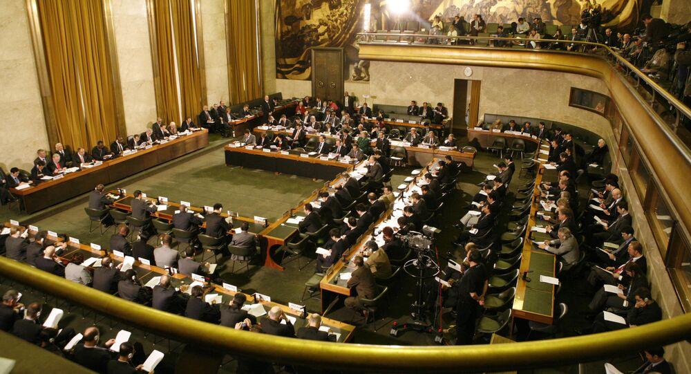 Sala da Conferência do Desarmamento, em Genebra, na Suíça