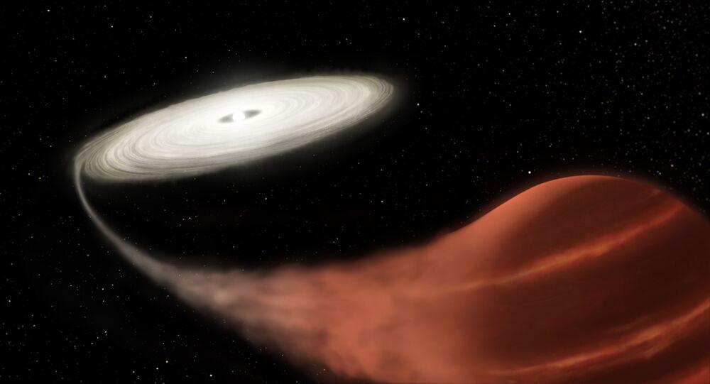 Ilustração mostra sistema estelar binário de estrelas anãs, onde uma anã branca absorve o seu satélite maior, uma anã marrom