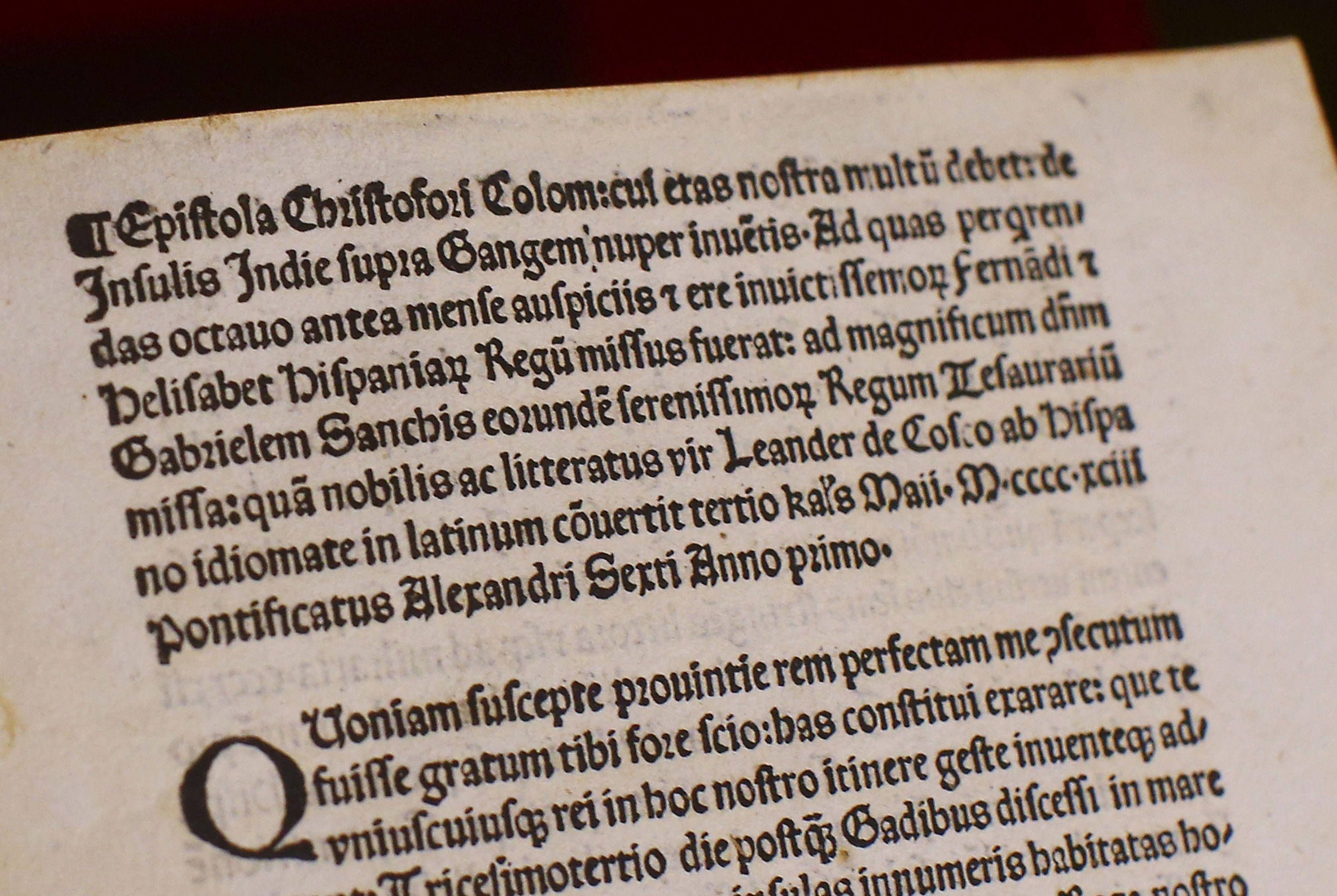 Cópia da carta de Cristóvão Colombo
