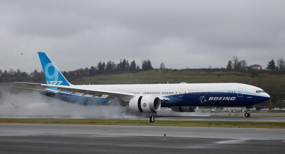 Boeing 777X em Seattle, Washington, EUA, 25 de janeiro de 2020