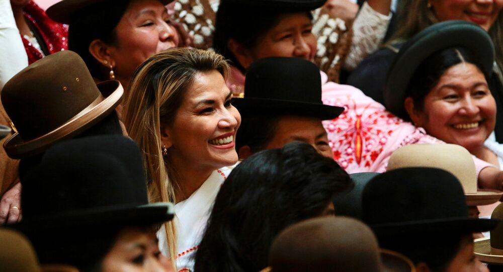 Presidenta interina da Bolívia, Jeanine Áñez, participa de evento após anunciar intenção de se candidatar à presidência, em 27 de janeiro de 2020