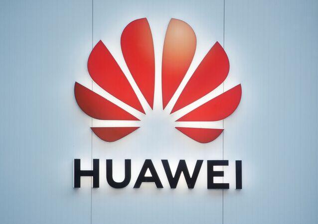 Logotipo da Huawei em Davos, Suíça, em 22 de janeiro de 2020