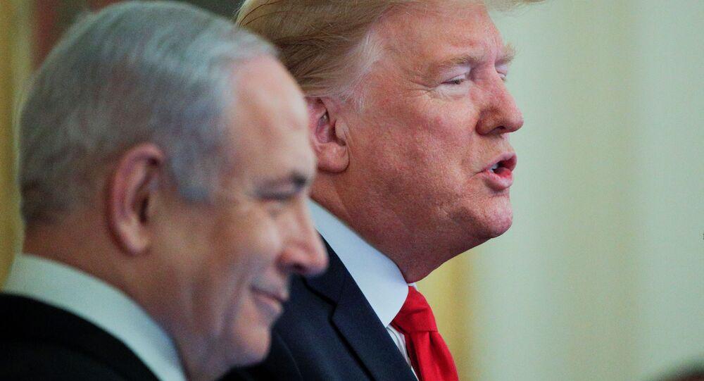 O presidente dos EUA, Donald Trump, o primeiro-ministro de Israel, Benjamin Netanyahu, durante coletiva de imprensa na Casa Branca para discutir o plano de paz para o Oriente Médio proposto por Trump.