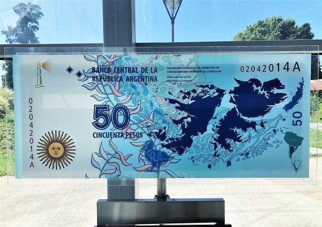 Nota de peso argentino em homenagem às ilhas Malvinas