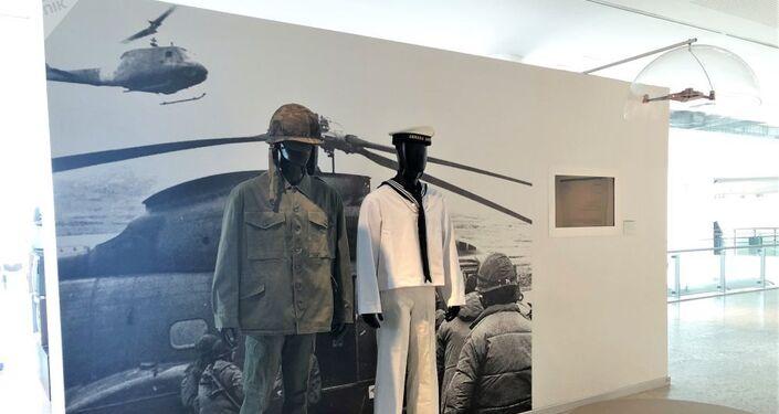 Uniformes militares exibidos no Museu Malvinas