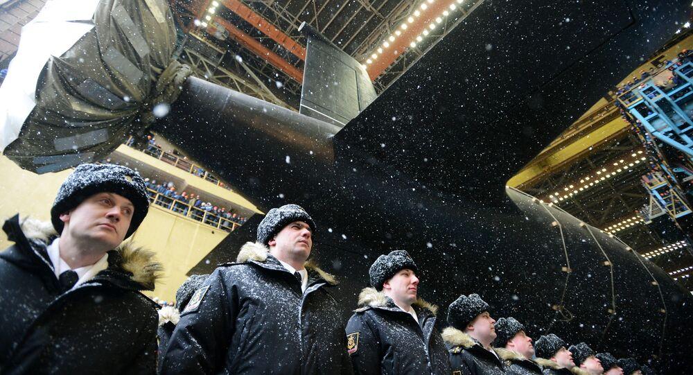 Lançamento ao mar do submarino nuclear Kazan da Marinha da Rússia