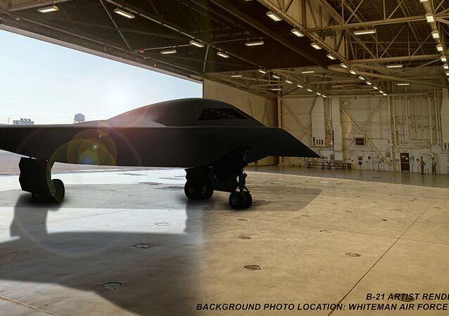 Imagem conceitual do bombardeiro B-21 Raider na Base Aérea de Whiteman
