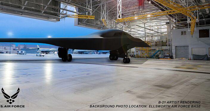 Imagem conceitual do bombardeiro B-21 Raider na Base Aérea de Ellsworth