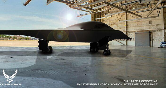 Imagem conceitual do bombardeiro B-21 Raider na Base Aérea de Dyess