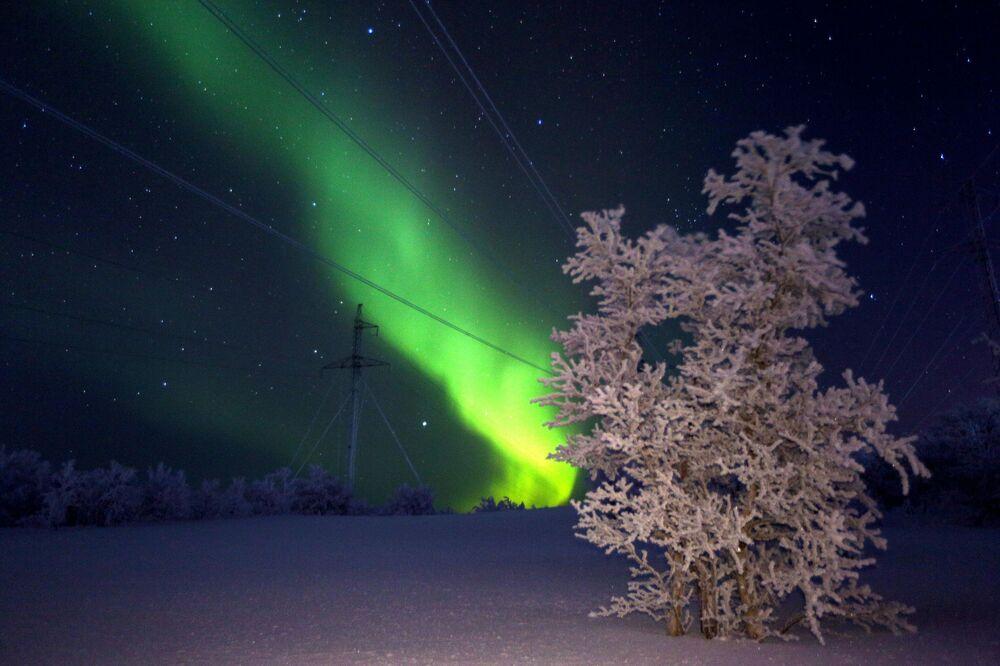 Aurora boreal vista na região russa de Murmansk