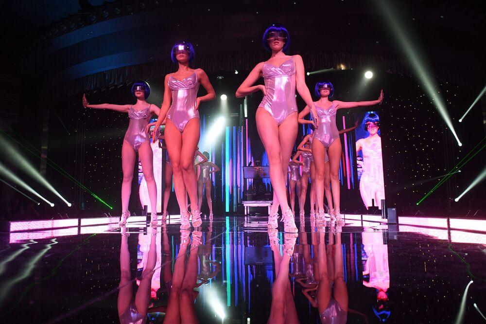 Participantes do concurso de beleza Miss Tatarstão 2020 na cidade russa de Kazan