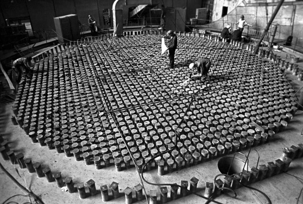 Construção da usina nuclear de Chernobyl em 1975