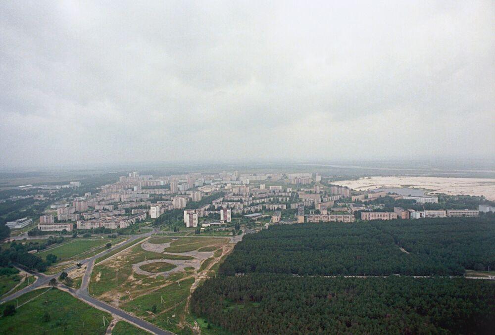 Vista aérea da cidade de Pripyat em 1986