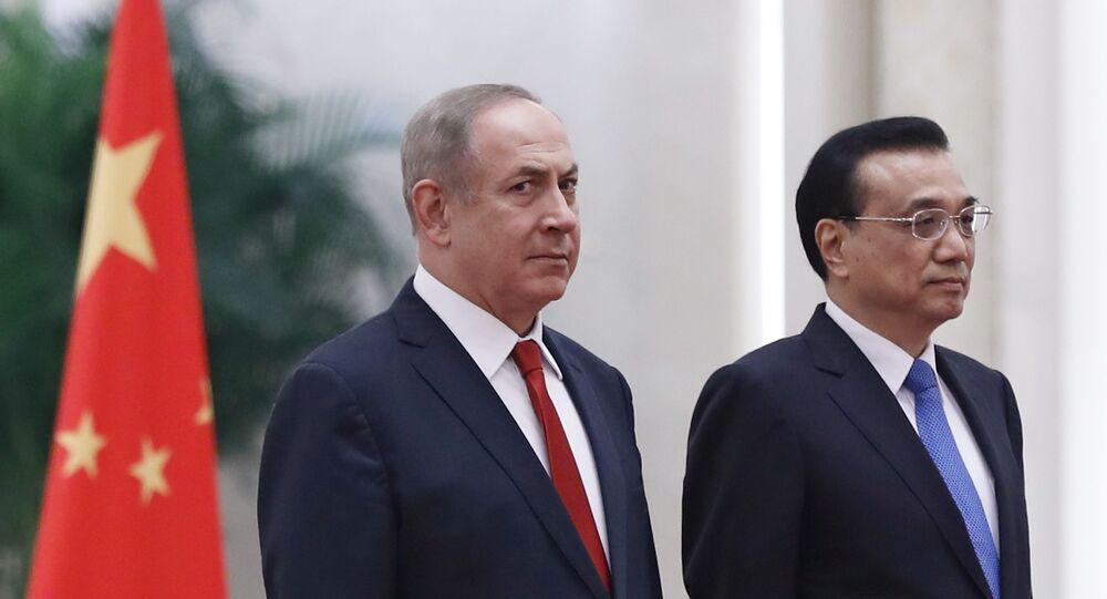Primeiro-ministro de Israel, Benjamin Netanyahu, durante encontro com o premiê chinês, Li Keqiang, em Pequim, na China (foto de arquivo)