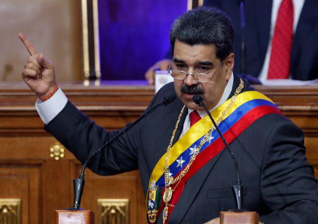 Presidente da Venezuela, Nicolás Maduro, durante discurso na Assembleia Nacional Constituinte, em Caracas, Venezuela, 14 de janeiro de 2020