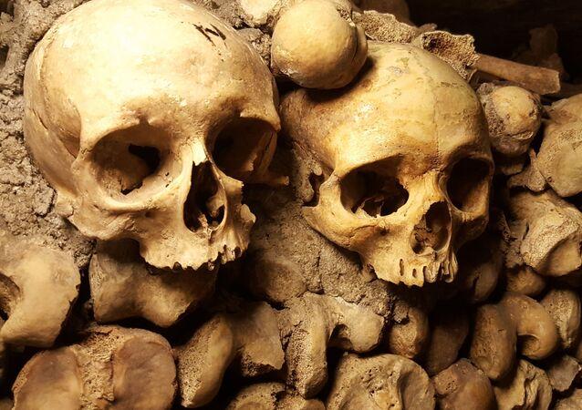 Crânios em catacumbas