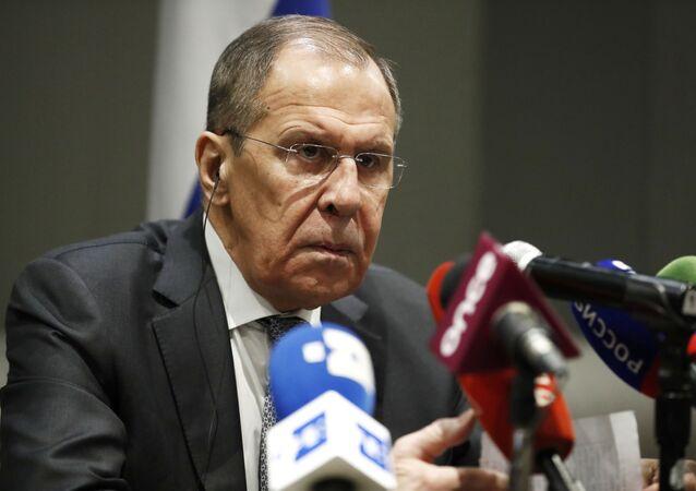 Ministro das Relações Exteriores da Rússia, Sergei Lavrov, durante conferência de imprensa, após seu encontro com homólogo mexicano Marcelo Ebrard, em 6 de fevereiro de 2020