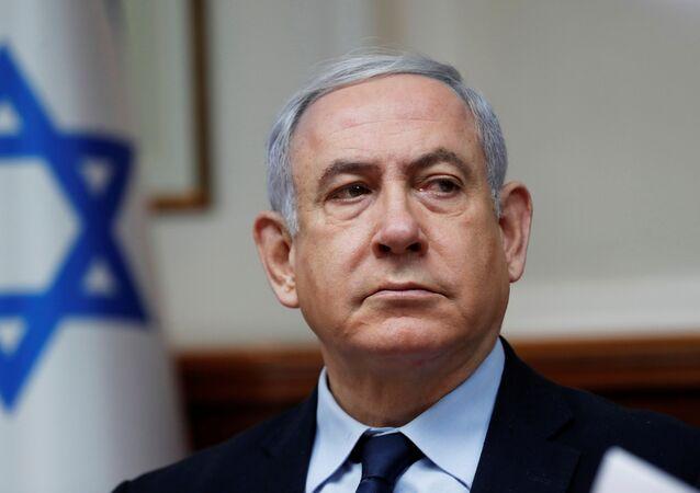 Primeiro ministro de Israel, Benjamin Netanyahu, em reunião de gabinete, em 9 de fevereiro de 2020