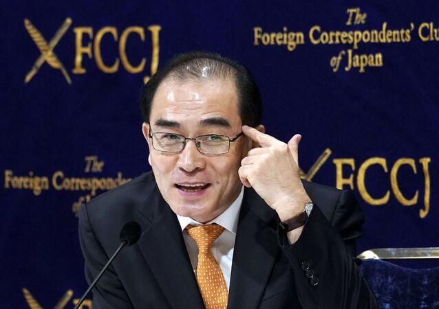 Ex-diplomata norte-coreano que desertou para a Coreia do Sul, Thae Yong Ho, em conferência de imprensa em Tóquio, no Japão, em junho de 2019