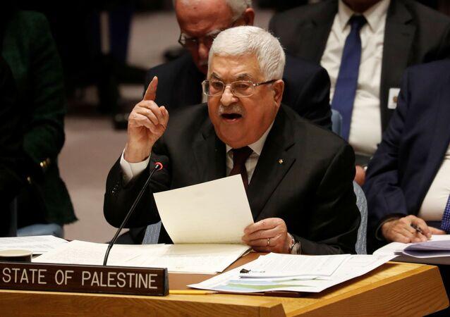 O presidente palestino, Mahmoud Abbas, fala durante uma reunião do Conselho de Segurança da ONU.
