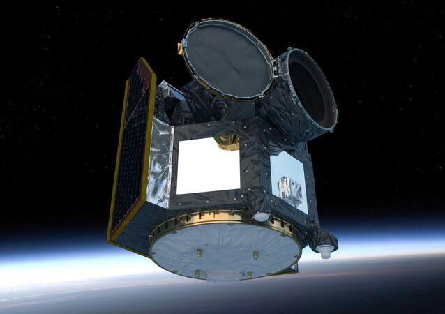 Representação artística do telescópio espacial CHEOPS