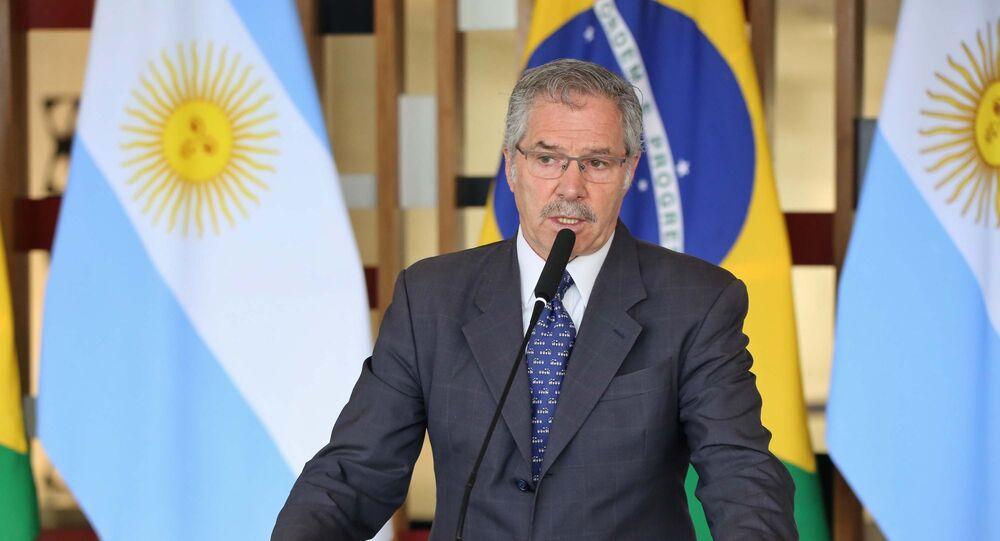 O Ministro das Relações Exteriores, Ernesto Araújo, recebe o chanceler argentino, Felipe Solá, no Itamaraty em Brasília (DF)