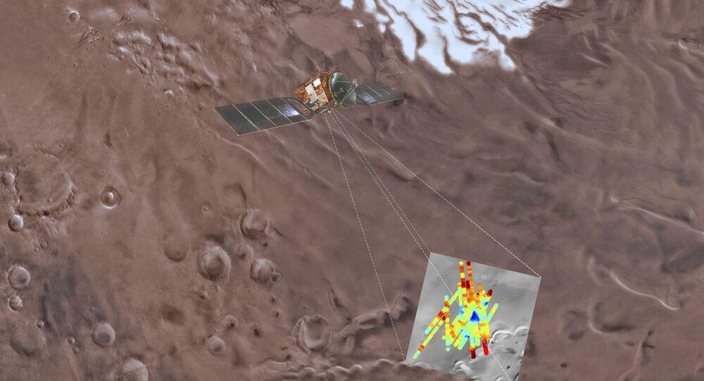 Representação artística de sonda Mars Express em Marte