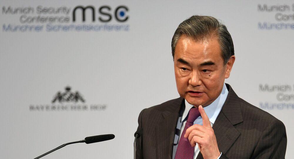 Ministro das Relações Exteriores da China, Wang Yi, durante discurso na Conferência de Segurança de Munique, no dia 15 de fevereiro de 2020