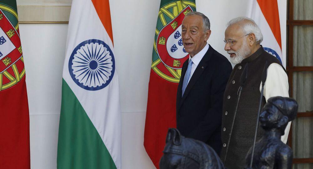Presidente de Portugal, Marcelo Rebelo de Sousa, e o primeiro ministro indiano Narenda Modi, reunidos em Nova Deli, no dia 14 de fevereiro de 2020