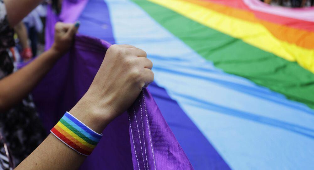 Participantes de parada gay segurando a bandeira da comunidade LGBT, São Paulo (foto de arquivo)