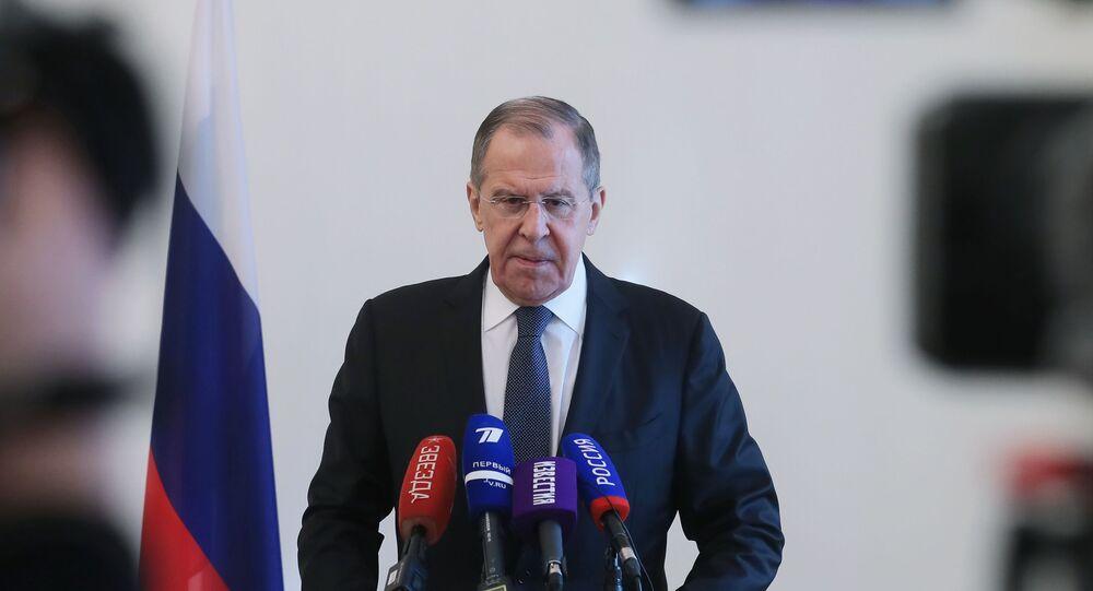 Ministro das Relações Exteriores, Sergei Lavrov, durante conferência de imprensa sobre os resultados da Conferência de Segurança de Munique, no dia 17 de fevereiro de 2020